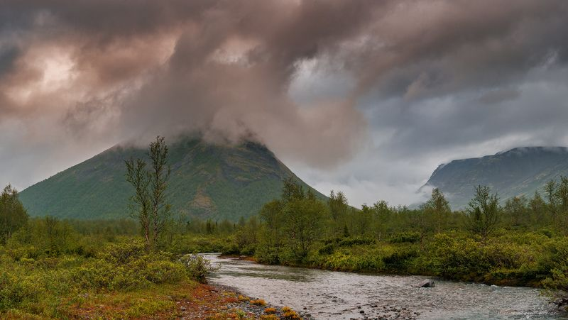 кольский, север,заполярье, хибины, река, лето,утро В Хибинах утро.photo preview