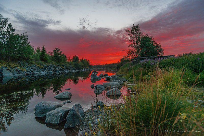 кольский, север,заполярье, хибины, река, лето,ночь Тихая ночь. Хибины.photo preview