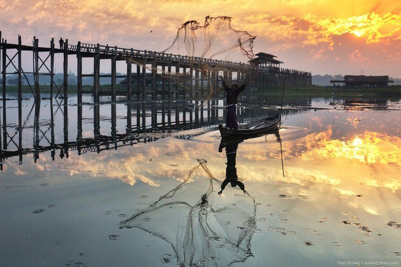 амарапура, утро, рыбак, рыбалка, сети, мост, бирма, мьянма, мандалай, amarapura, burma, myanmar, sunrise, ubein, bridge, teakwood, рассвет, fisherman Утро на озереphoto preview