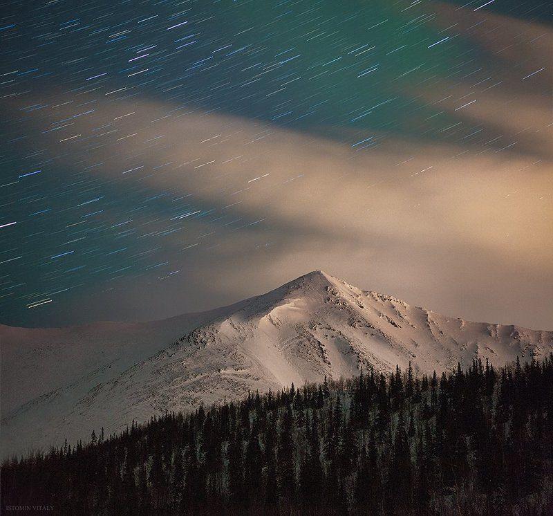 пейзаж,звезды,россия,ночь,сумерки,сияние,горы,хибины,лес,перспектива Кукисвумчоррphoto preview