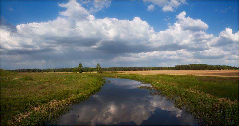 река, весна, небо, Пейзаж под Слуцкомphoto preview