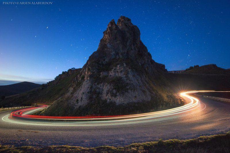 горы, предгорья, хребет, вершины, пики, осень ночь,ночная съёмка, длинная выдержка, треки, скорость, скалы, холмы, долина, облака, путешествия, туризм, карачаево-черкесия, кабардино-балкария, северный кавказ СКОРОСТЬphoto preview