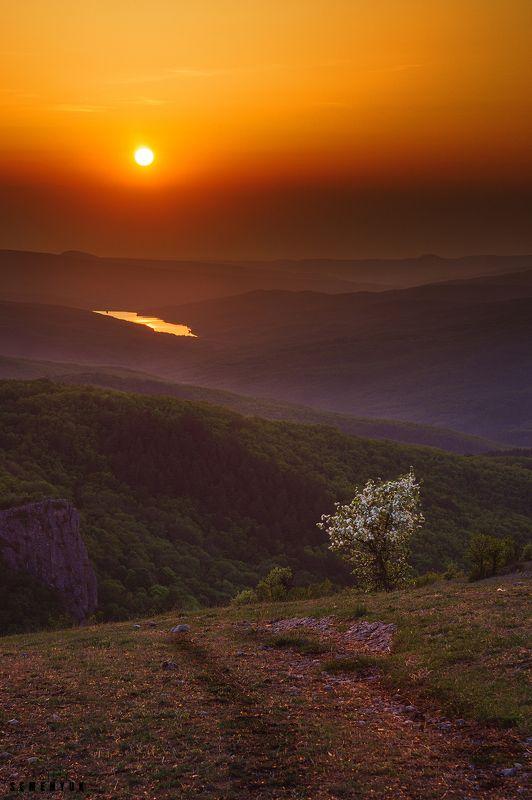 Крым, Басман, Кермен-Кая, Загорское водохранилище, закат, горы, весна, цветущая айва. Закат на Басмане.photo preview
