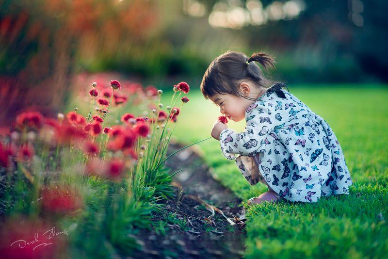 kid, child, girl, flower, natural light, garden, green, red vivid blossomphoto preview