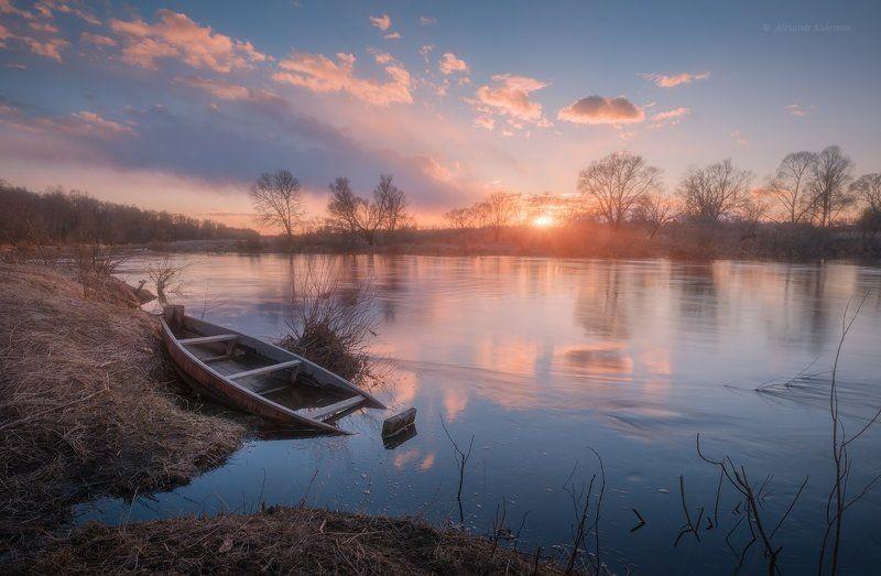 пейзаж, весна,закат,река,угра Вечерний март...photo preview