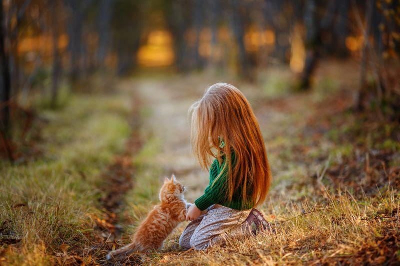 дети, осень, kids, family, children, autumn,  Маленький другphoto preview