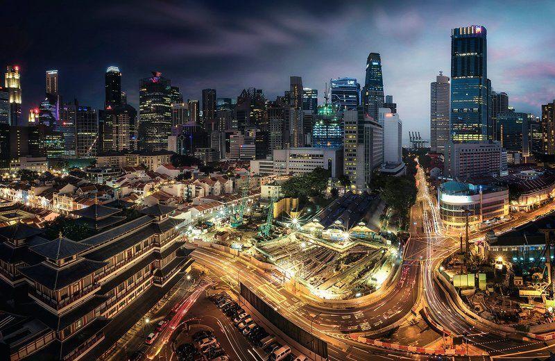 сингапур, город, закат, ночь Биение городаphoto preview