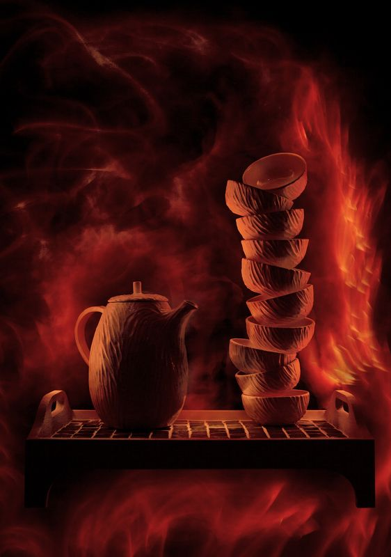 керамика, посуда, гончар, гончарное дело, дарья боброва, андрей голов, andygolov, натюрморт, still life, pottery, clay, cups, tea, чай, чайник, light painting, light brush, long exposure Из огняphoto preview