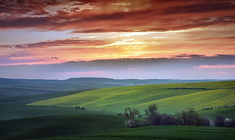 Tuscany under a red skyphoto preview