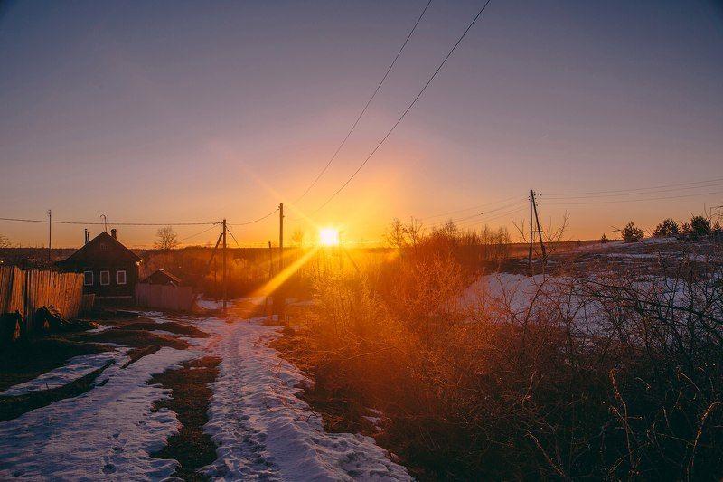 Россия, Лежнево, рассвет, утро, пейзаж Утро в деревнеphoto preview