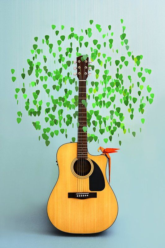 музыка, дерево, птица, оригами, гитара, рок, акустика, натюрморт Музыкальное деревоphoto preview