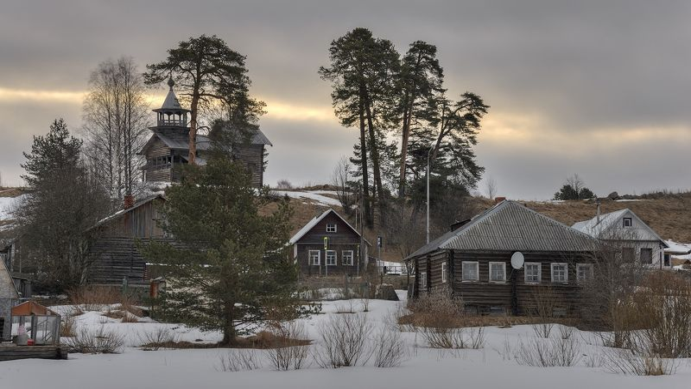 весна, деревня, часовня, утро. photo preview