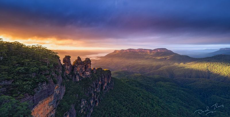 mountain, landscape, sunrise, light, three sisters, blue mountains, sydney Three Sistersphoto preview