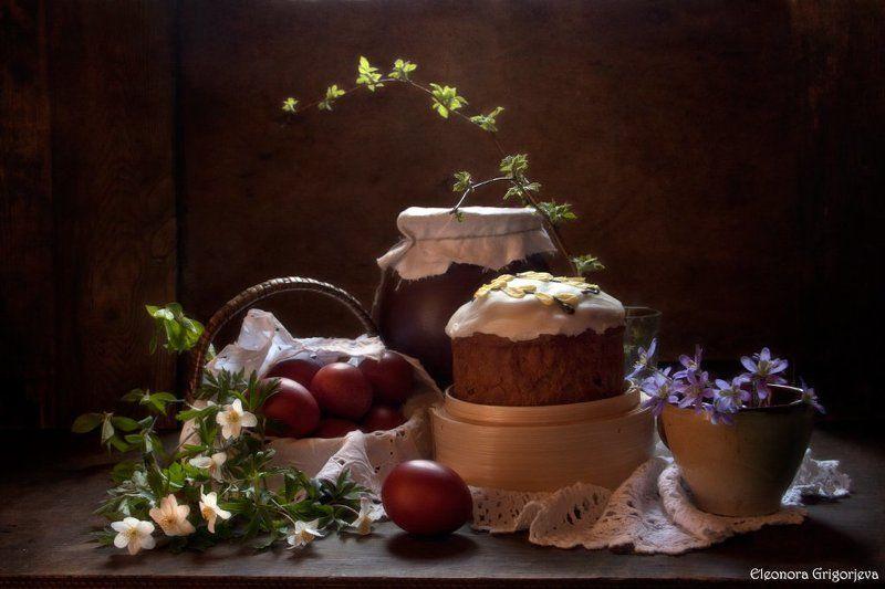 пасха, кулич, яйца, крашенки, первоцветы, натюрморт Светлой Пасхи!photo preview