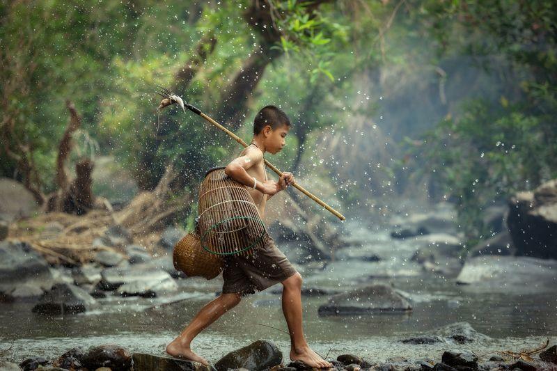 hunter,boy,child,fisherman,thai,asia, Hunterphoto preview