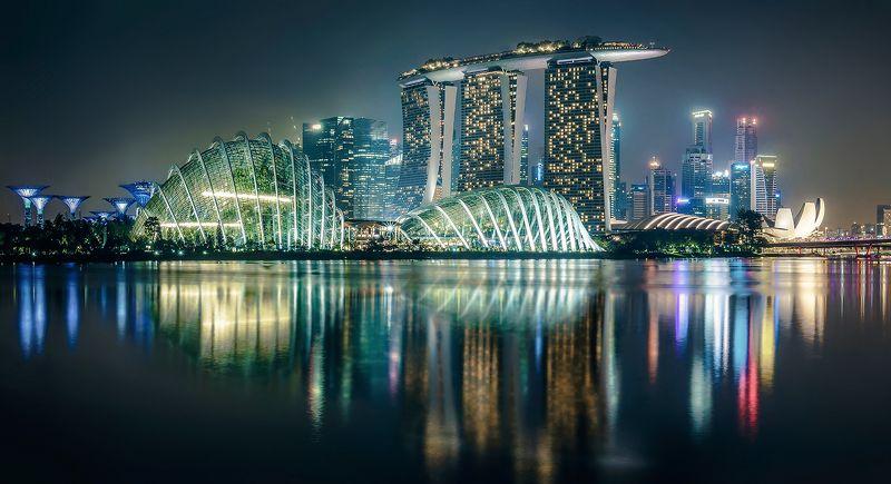 Сингапур, город, ночь, вода, отражение, небоскребы Верблюдphoto preview