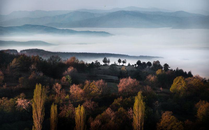 landscape, mist, fog, rain, sunrise, pirin, bulgaria, mountain, spring, light, haze, panorama, trees, forrest, hills Spring Mists in Pirinphoto preview