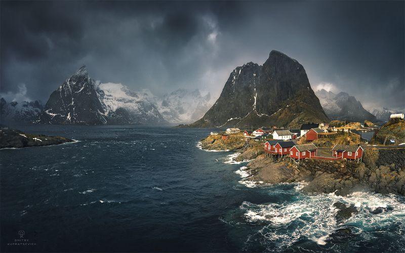 норвегия, лофотены, море, горы, облака, пейзаж Норвежский ветерphoto preview