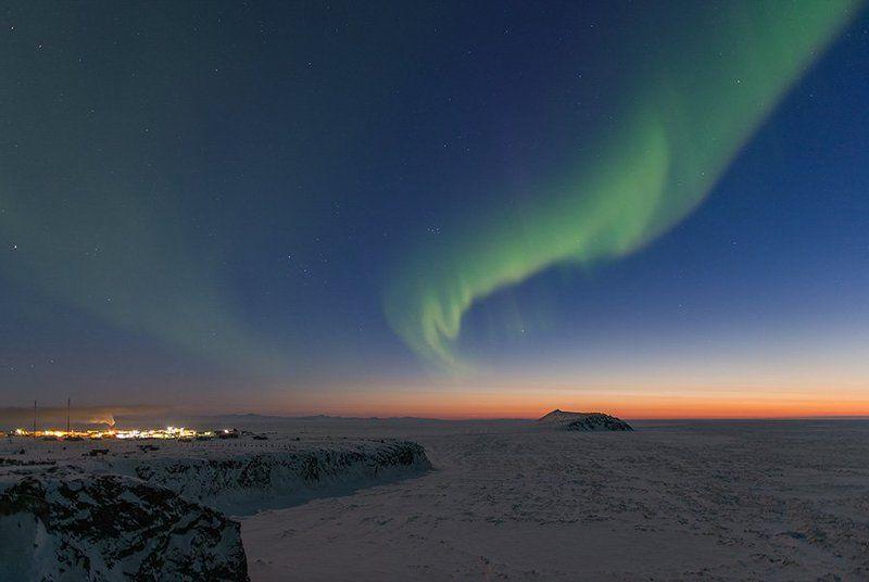 чукотка арктика аврора море мыс зима ночь сияние северное закат Аврора м.Кожевниковаphoto preview
