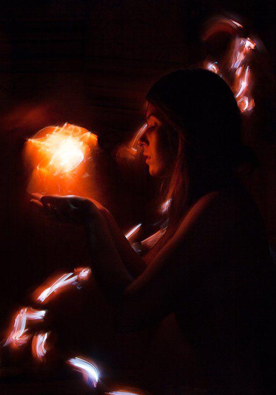 портрет, лайтпейнтинг, длинная выдержка, ночь, светоживопись Цветы огняphoto preview