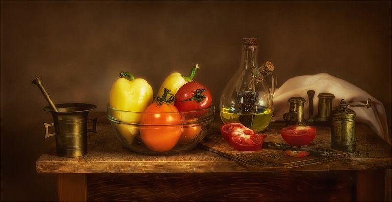 still life, натюрморт,  винтаж, кухня овощи, перец, помидор,еда, декантер, специи,ступка, мельница кухонный натюрмортphoto preview