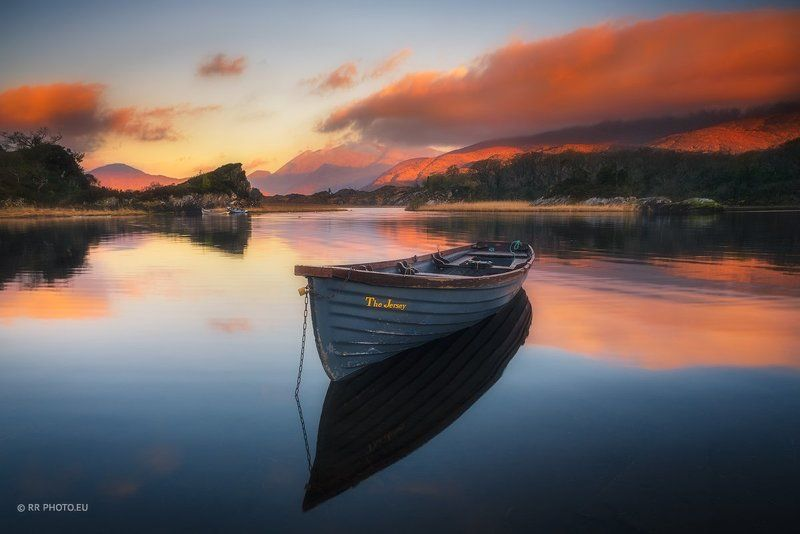 ireland, landscape, killarney, kerry, outdoor, boat, mountains, lake, sunrise, orange, clouds, magic,  The Jersey | Irelandphoto preview