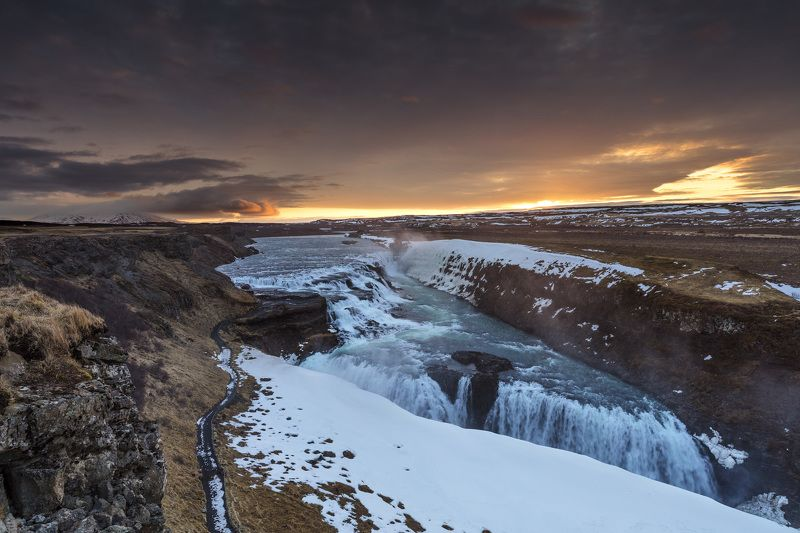 Iceland classic, Sunrise on Gullfoss waterfallphoto preview