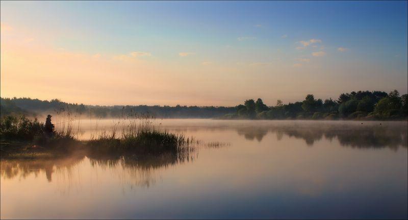рассвет, река, дымка, Про юного рыбакаphoto preview