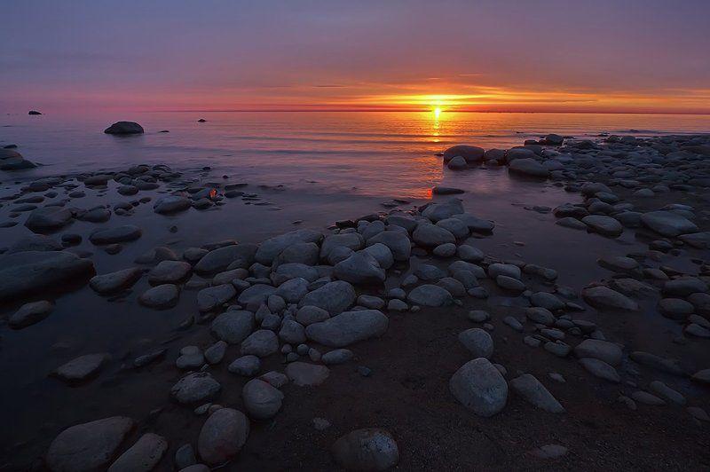рассвет, утро, пейзаж,озеро, ладожское озеро, ладога, берег, камни, небо, свет Рассвет на Ладожскомphoto preview