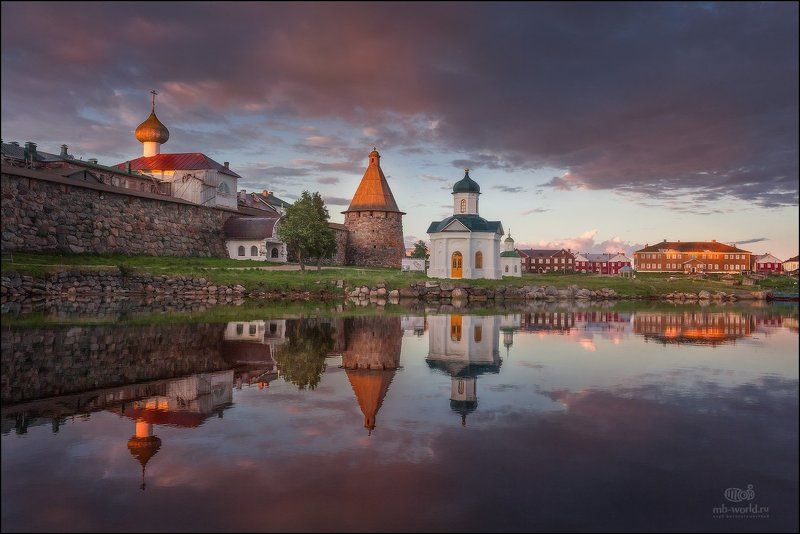Россия, Соловки, рассвет, пейзаж Белые ночи на Соловецких островахphoto preview