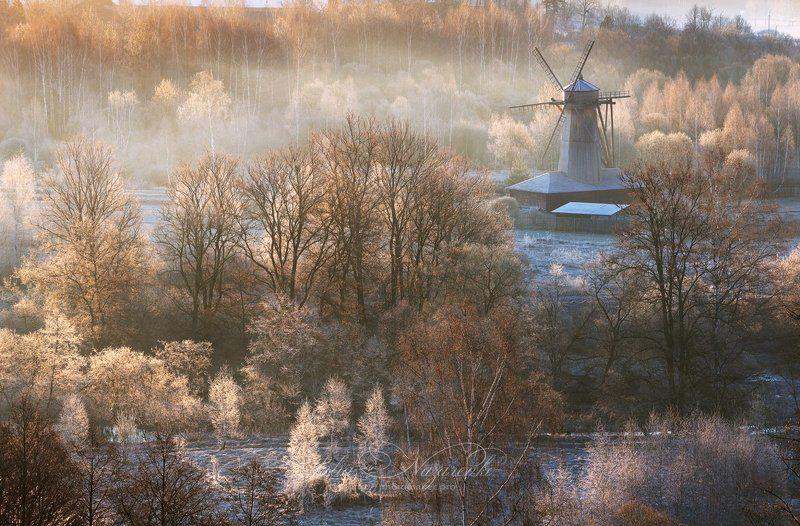 пейзаж, весна, туман, мороз, мельница, утро Морозное апрельское утроphoto preview