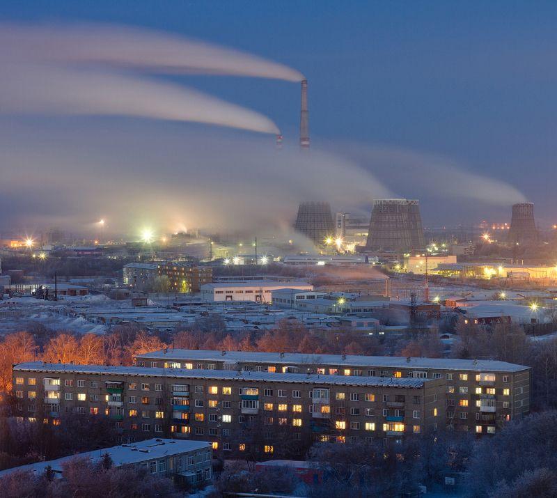 Омск, город, крыша, мороз, Urban Exploration, industrial Спальный районphoto preview