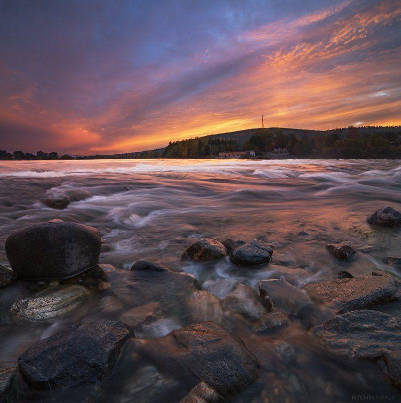 Пейзаж,кандалакша,рассвет,красиво,перспектива,цвет,камни,вода,река,небо,свет Рассвет в Кандалакшеphoto preview