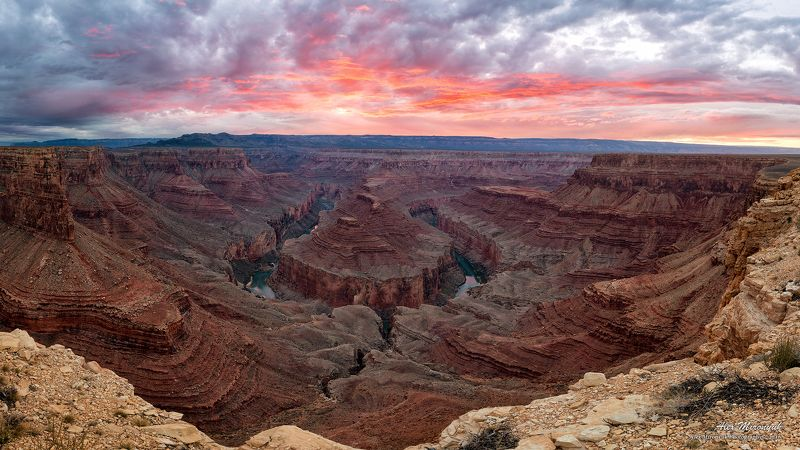Гранд, Каньон, Аризона, США, Подкова, Колорадо, Река, Изгиб, Скалы, Камни, Панорама Секретный Изгиб Реки Колорадоphoto preview