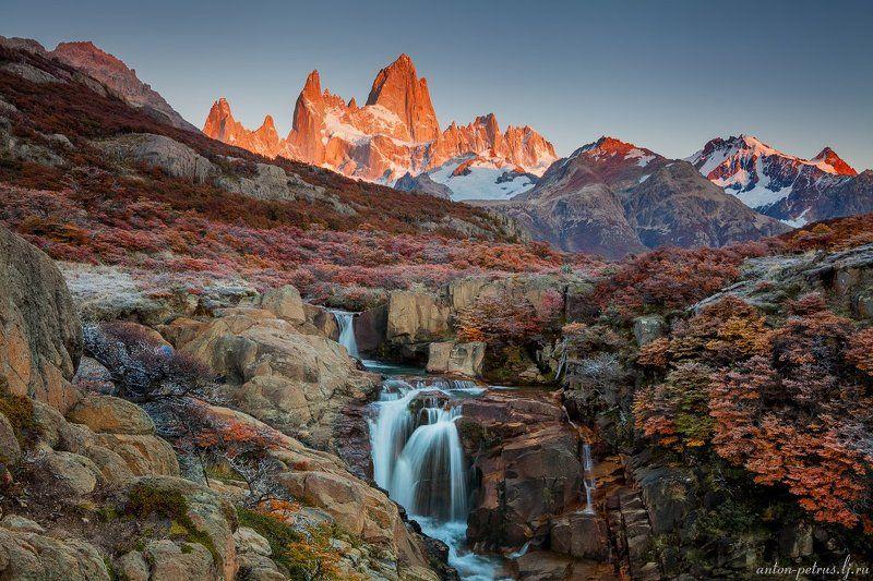 патагония, горы, рассвет, аргентина Огненная осень Патагонииphoto preview
