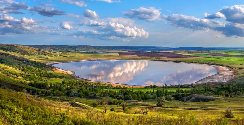 весна, озеро, солёное озеро, ставропольский край. облака, отражение. Солёное озеро.photo preview