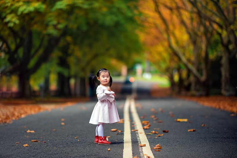 kid, child, girl, face, autumn, road, leaves, cute, together                                                                                                                                                                                                    Queens Avenuephoto preview