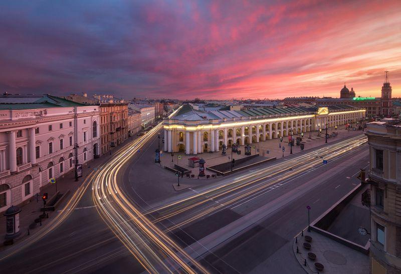 Санкт-Петербург, город, пейзаж, крыша, закат, выдержка, Urban Exploration Гостиный дворphoto preview