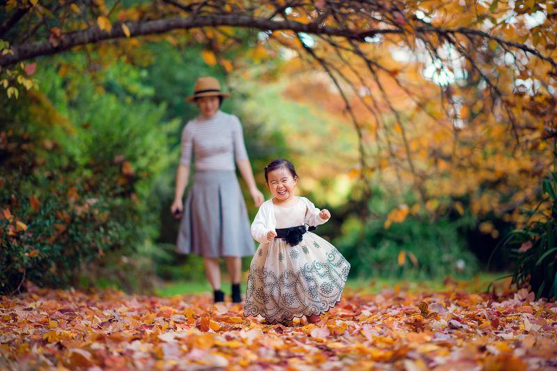 child, cute, girl, kid, autumn, leaves, colours, run, smile, family running girlphoto preview