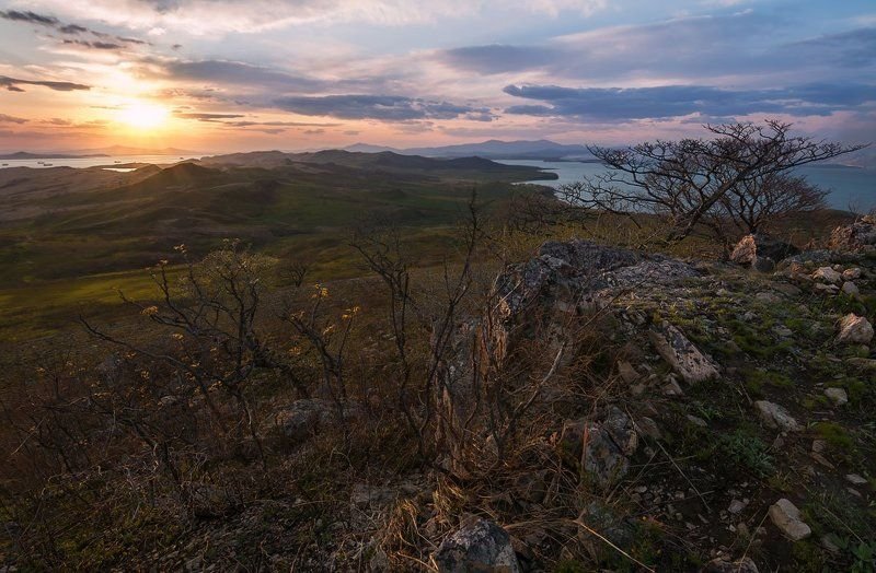 полуостров краббе, приморский край, закат ***photo preview