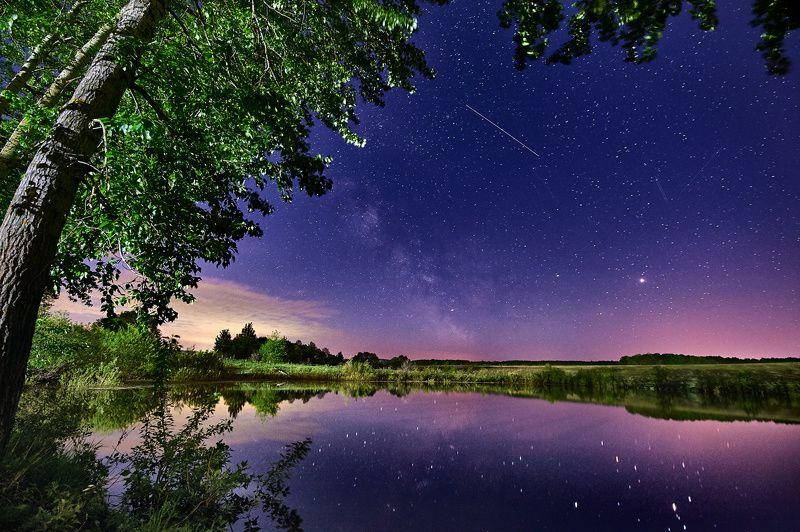 ночь пейзаж млечный путь  отражение звезды тульский край Майская Ночьphoto preview