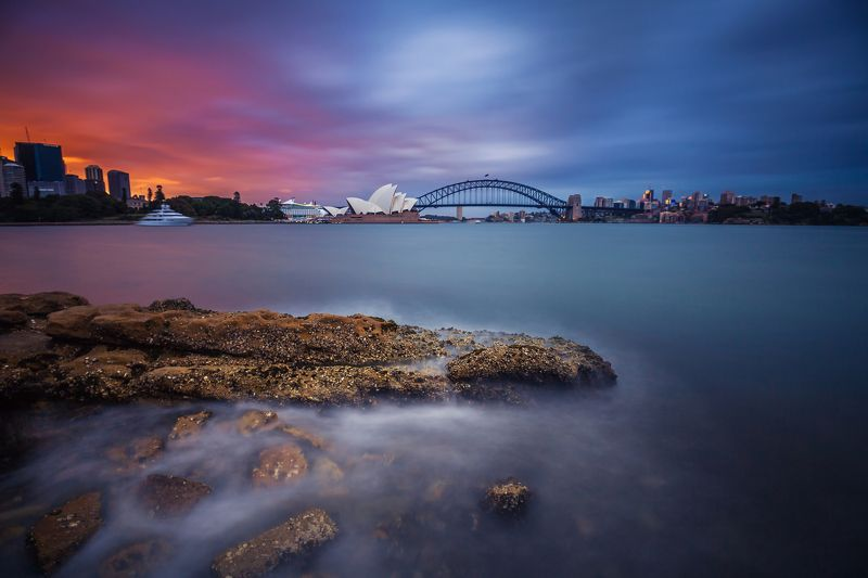harbour bridge, opera house, sydney, sky, sunset, clouds, sea, long exposure, moody TRANSITIONphoto preview