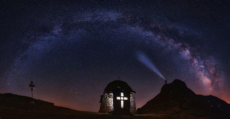 landscape, milky way, stars, chapel, cross, light, mountain, nightscape, astrophotography, night photography Milky wayphoto preview