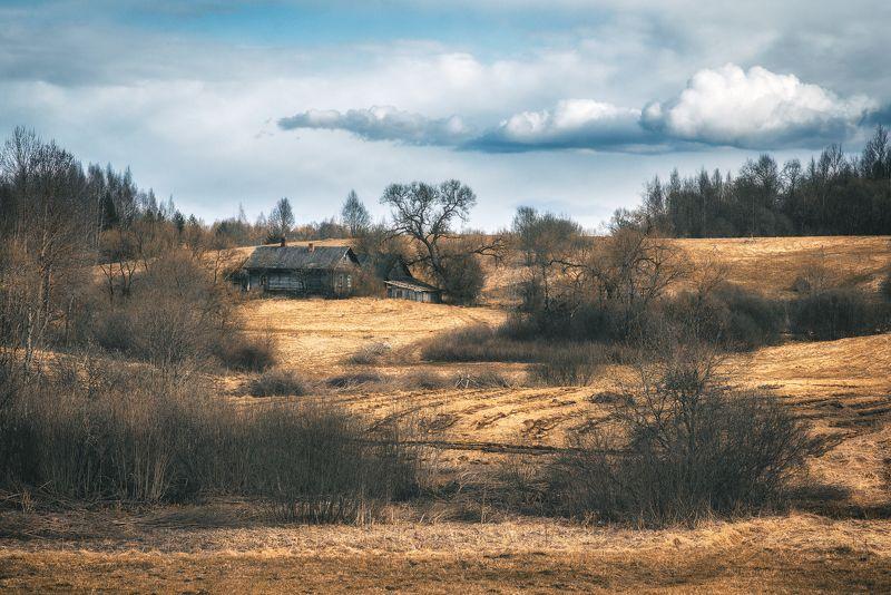 landscape,willage,spring,house,дом,деревня,пейзаж,весна,природа,хутор Латгальские деревниphoto preview