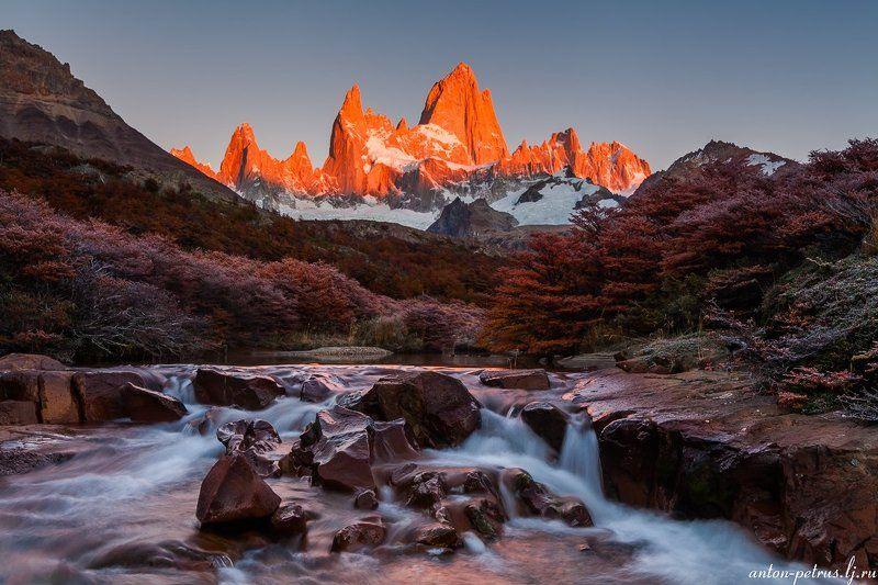 патагония, горы, рассвет, аргентина Огонь рассветаphoto preview