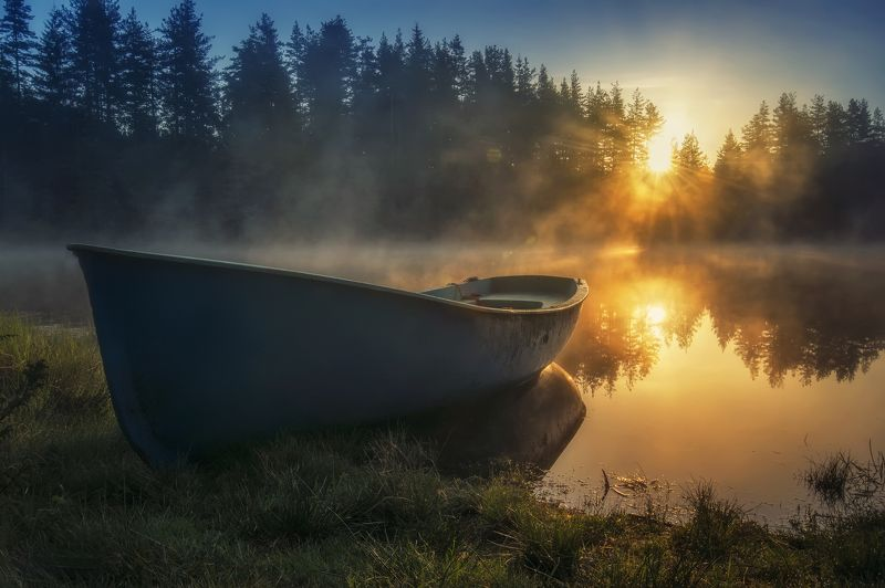 landscape, sunrise, lake, reflection, colors, sunlight, star, mountain, autumn, foggy, nature, feeling, пейзаж, природа Sunrisephoto preview