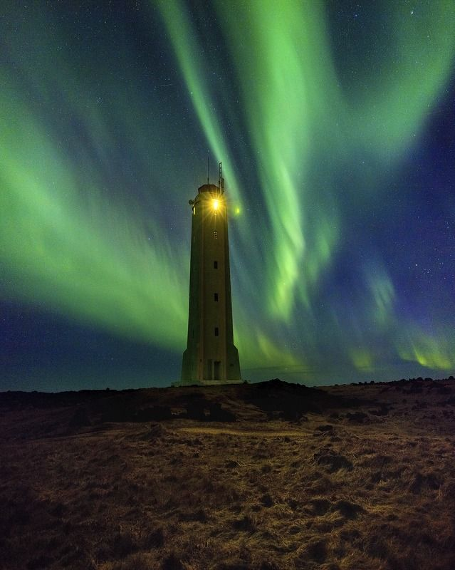 iceland lighthouse aurora northern lights Lighthouse for spaceships.photo preview
