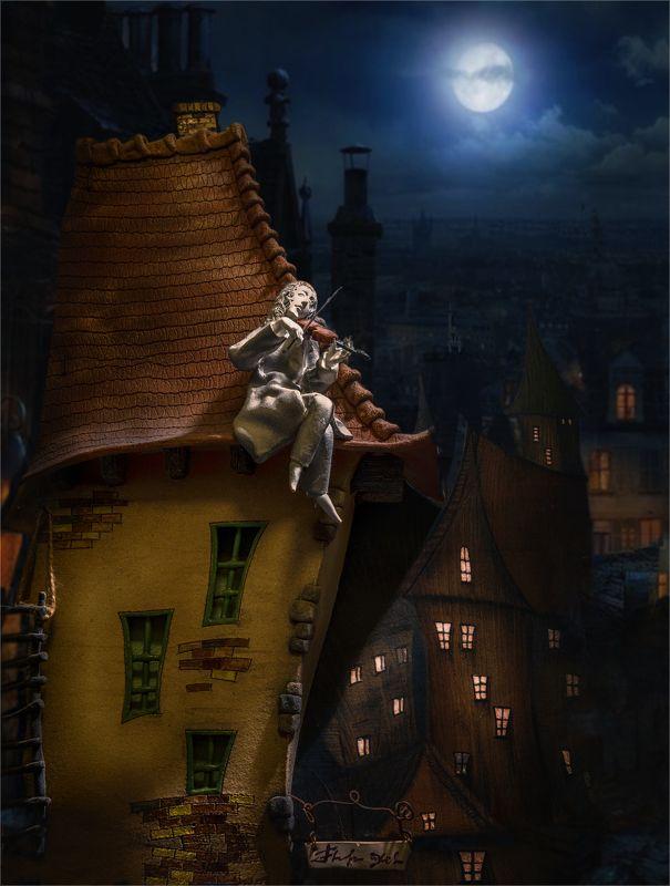 still life, натюрморт,  скрипач, дом, крыша, луна, ночь, вечер, окна, скрипка, скрипач на крышеphoto preview