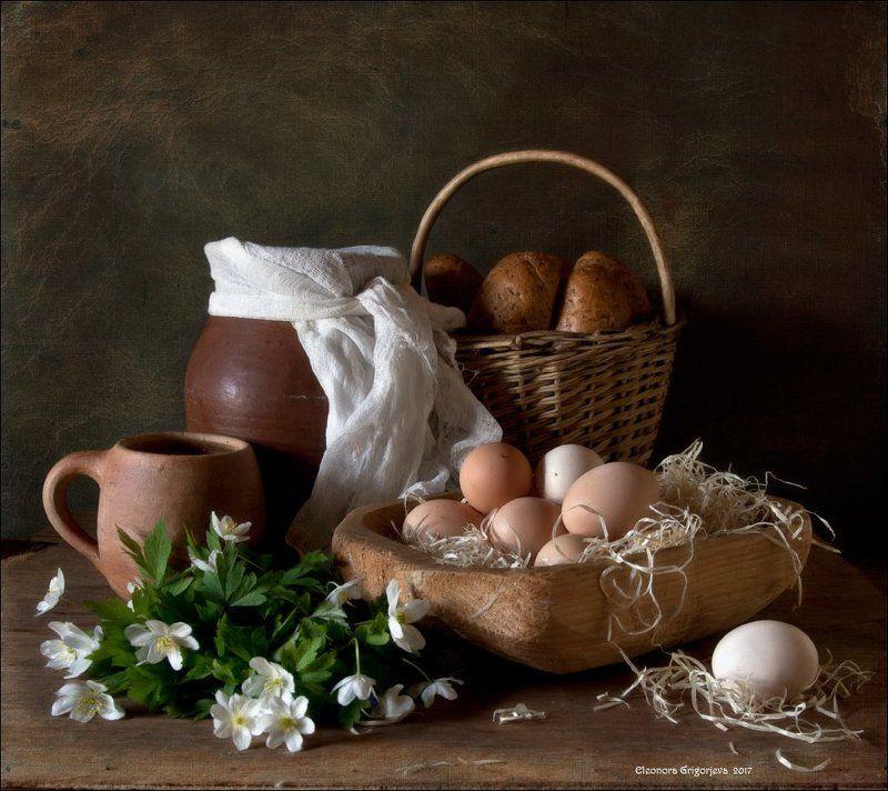 яйца, деревня, молоко, глечик, анемоны, ветреница, весна, кружка, корзина, хлеб, натюрморт Деревенский натюрмортphoto preview