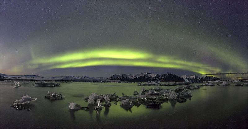 jokulsarlon iceland northern lights Jokulsarlon lagoon & northern lights (panorama)photo preview
